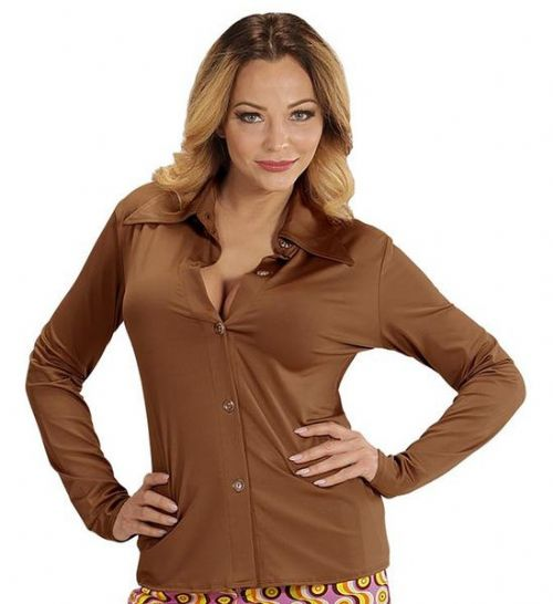 Ladies Groovy 70s Lady Shirt - Brown Costume 70s Fancy Dress